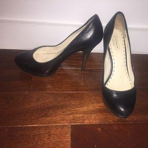 Coach Black Leather Round-Toe Heels, Size 7.5